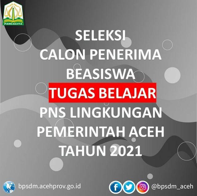Beasiswa Tugas Belajar Bagi PNS Aceh dari BPSM 2021