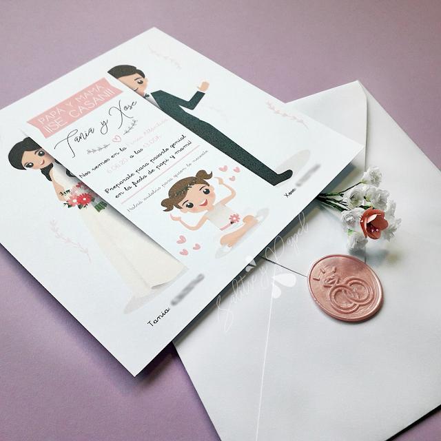 Invitación de boda con hija