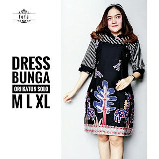 BAJU BATIK WANITA MODEL DRESS BUNG KATUN ORI SOLO TERBARU DRESS BUNGA