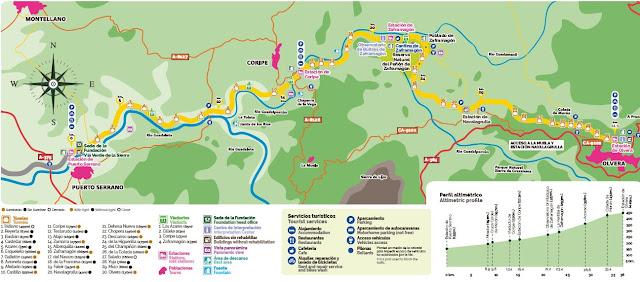 Mapa de la Vía Verde de la Sierra