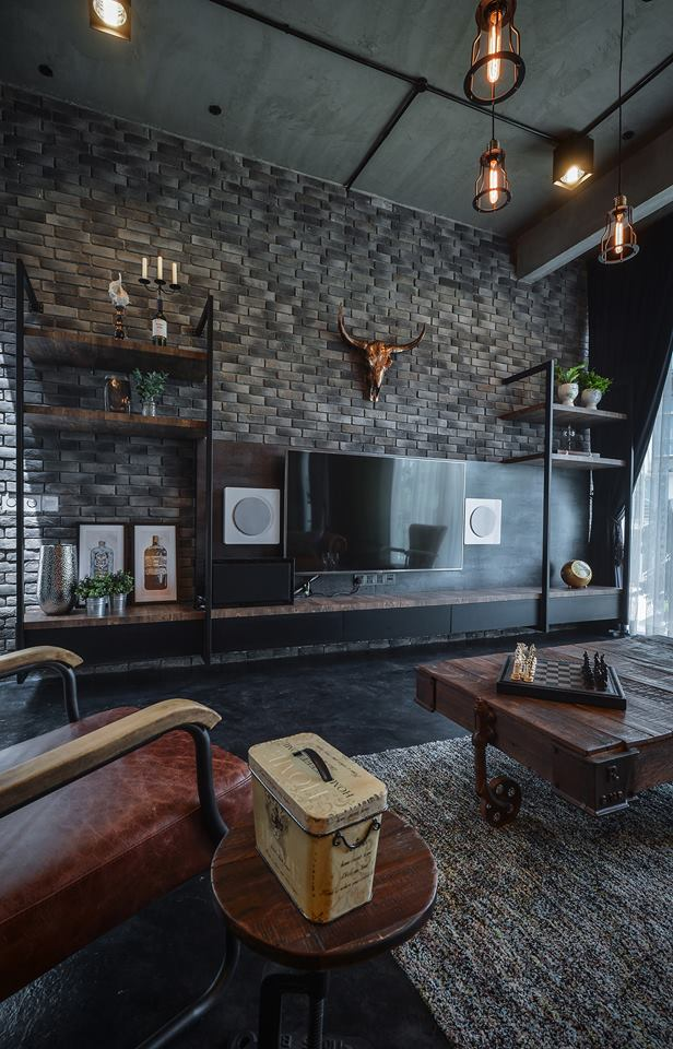 Gray Apartment Decorating With Stone Walls Home Decor