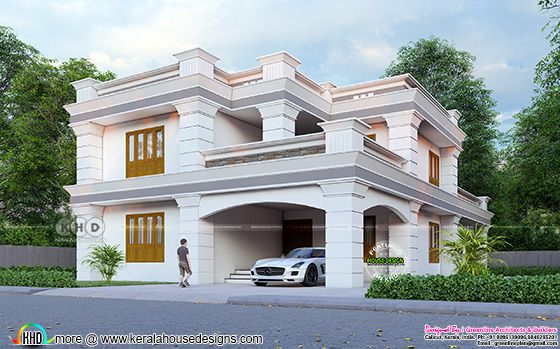Flat roof style Colonial house 3d rendering