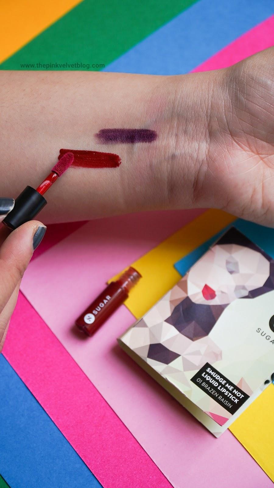SUGAR Smudge Me Not Liquid Lipstick Sample - 01 Brazen Raisin Swatch - November Fab Bag