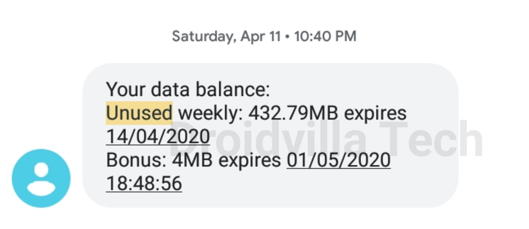 Rollover unused MTN data