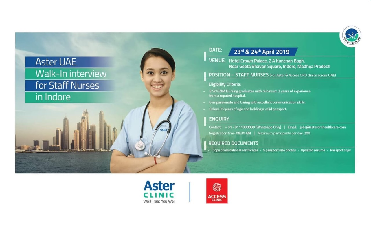 Aster UAE Walk-In Interview for Staff Nurses In Indore