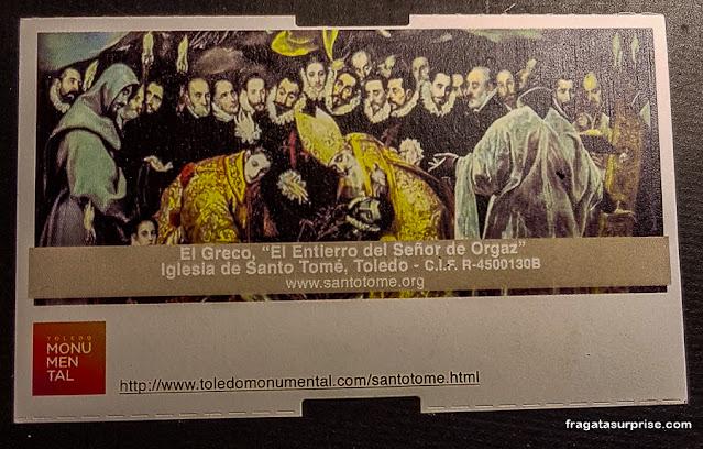 ingresso para O Enterro do Conde Orgaz, em Toledo