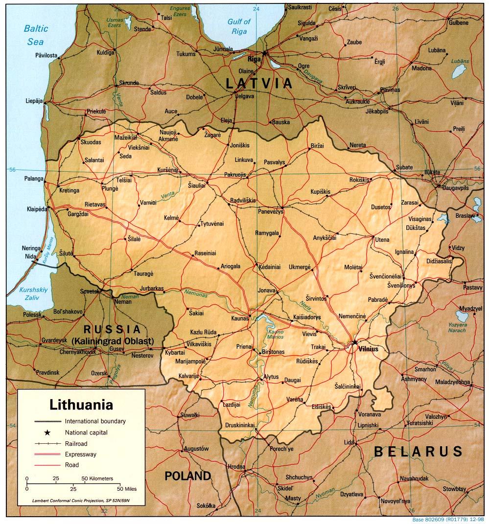 Lituânia | Mapas Geográficos da Lituânia