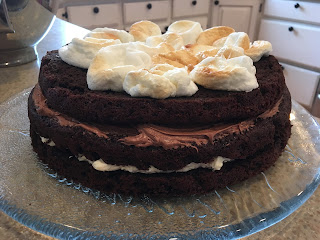 GF Chocolate Birthday Cake with Toasted Marshmallow