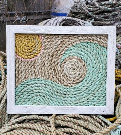 Ocean Trash Framed Rope Art