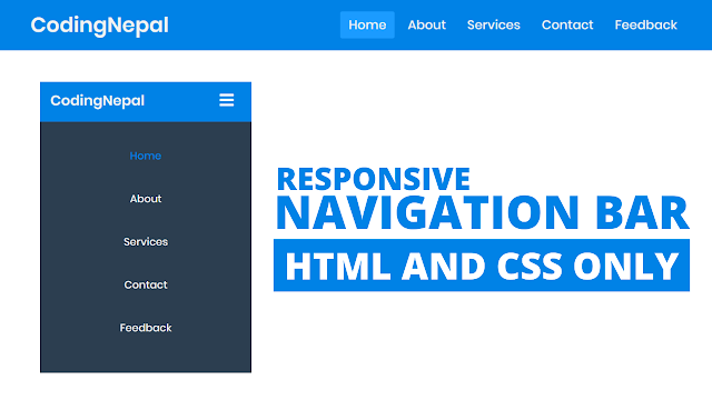 Responsive Navigation Menu Bar in HTML CSS