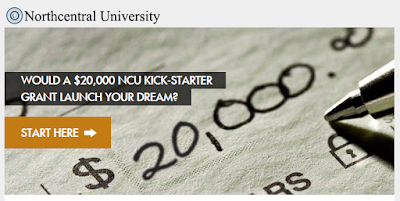 snapshot of NCU web page of Kick-Starter grant.  Image of a 20,000 check.  Text: Would a $20,000 NCU Kick-starter grant launch your dream?  Start here.