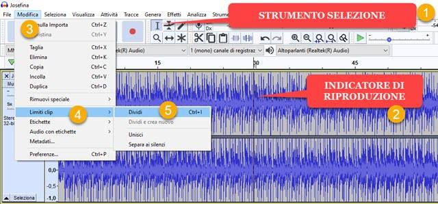 dividere file audio con audacity