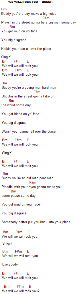 we will rock you acordes y letra de queen