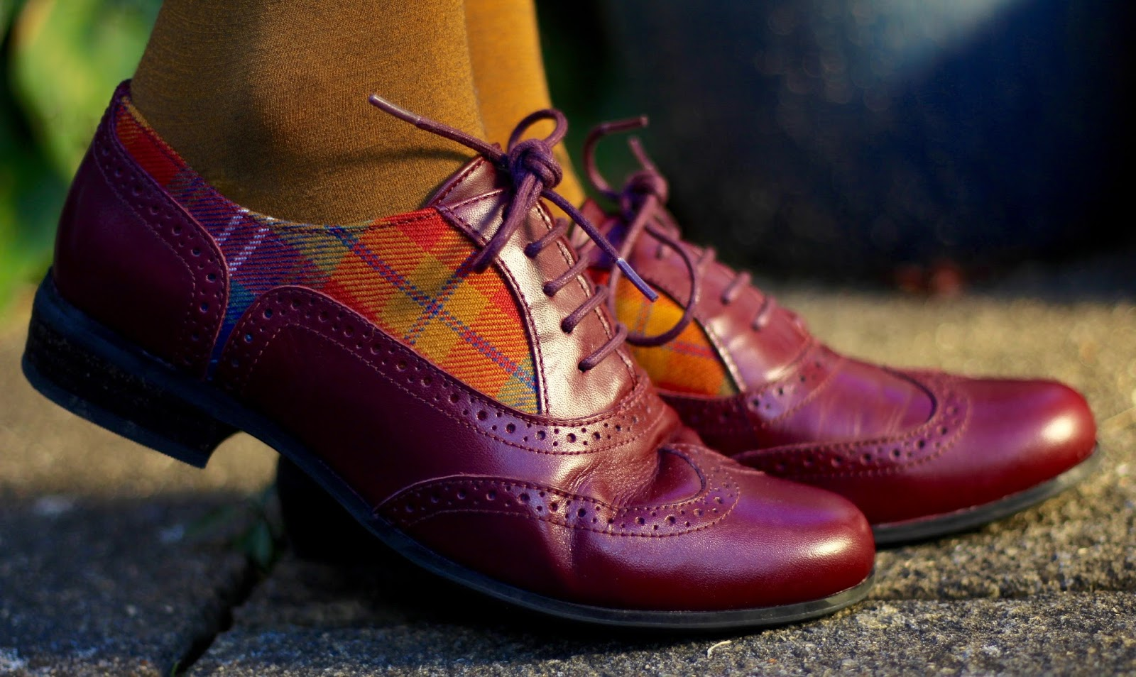 Clarks Oxblood Brogues with Tartan | Fake Fabulous