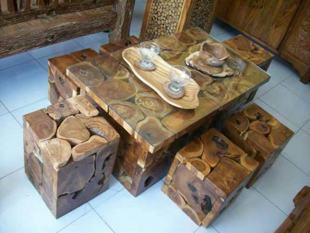 meja makan unik kayu jati