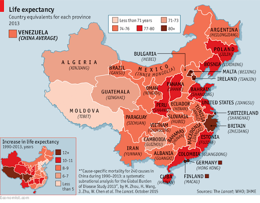 Map of the day: In which Chinese province will you live longest?