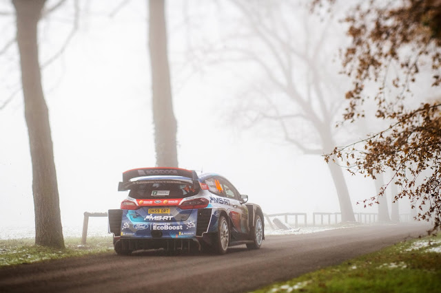 Rear end of M-Sport Ford Fiesta World Rally Car at rally Monza 2020