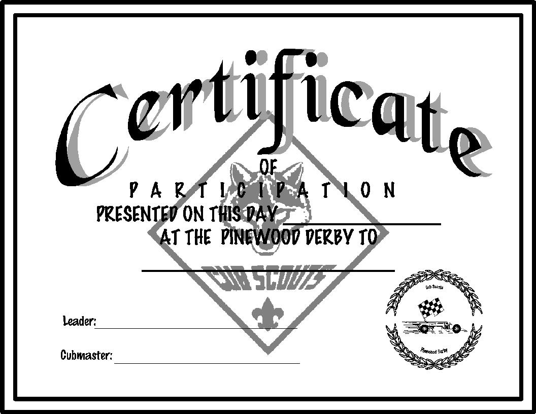 Alpine District Cub Scouts Pinewood Derby Certificates