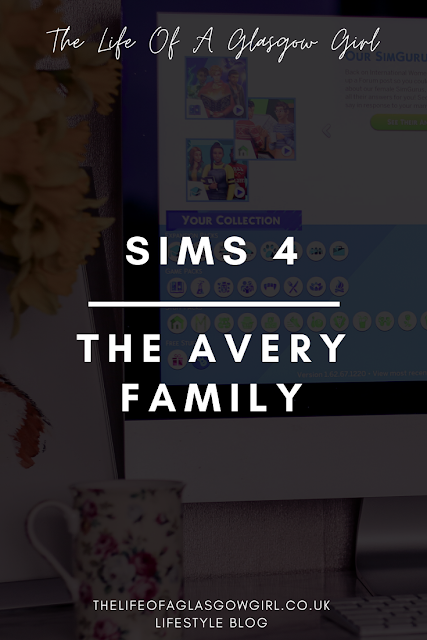 "Pinterest image with black background and white writing saying ""Sims 4, the Avery family"""