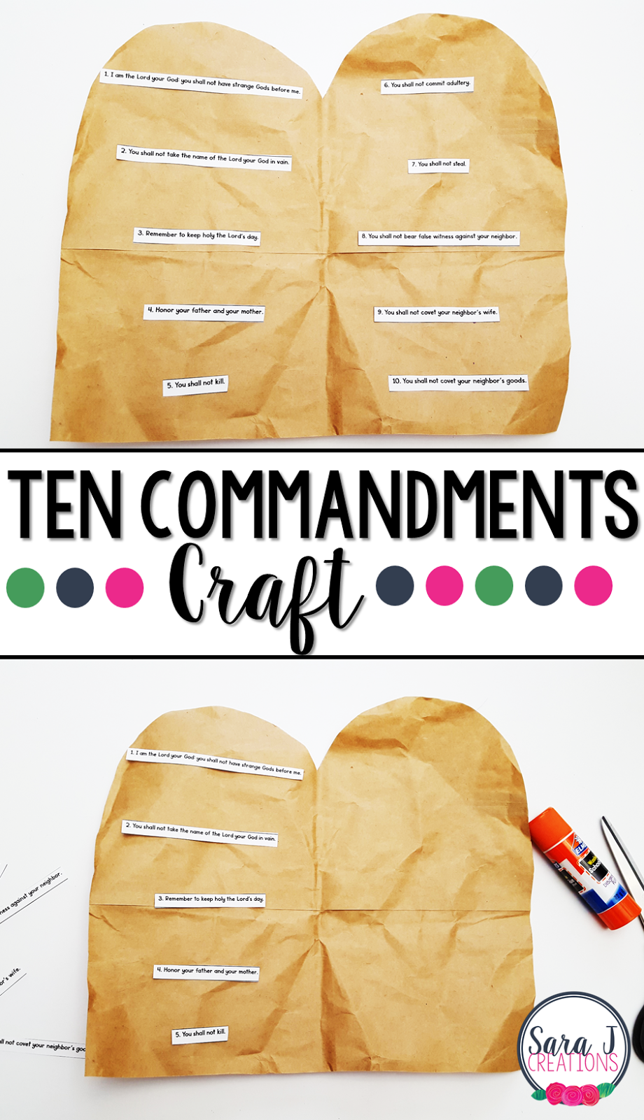 Ten Commandment Craft for kids using the Catholic translation