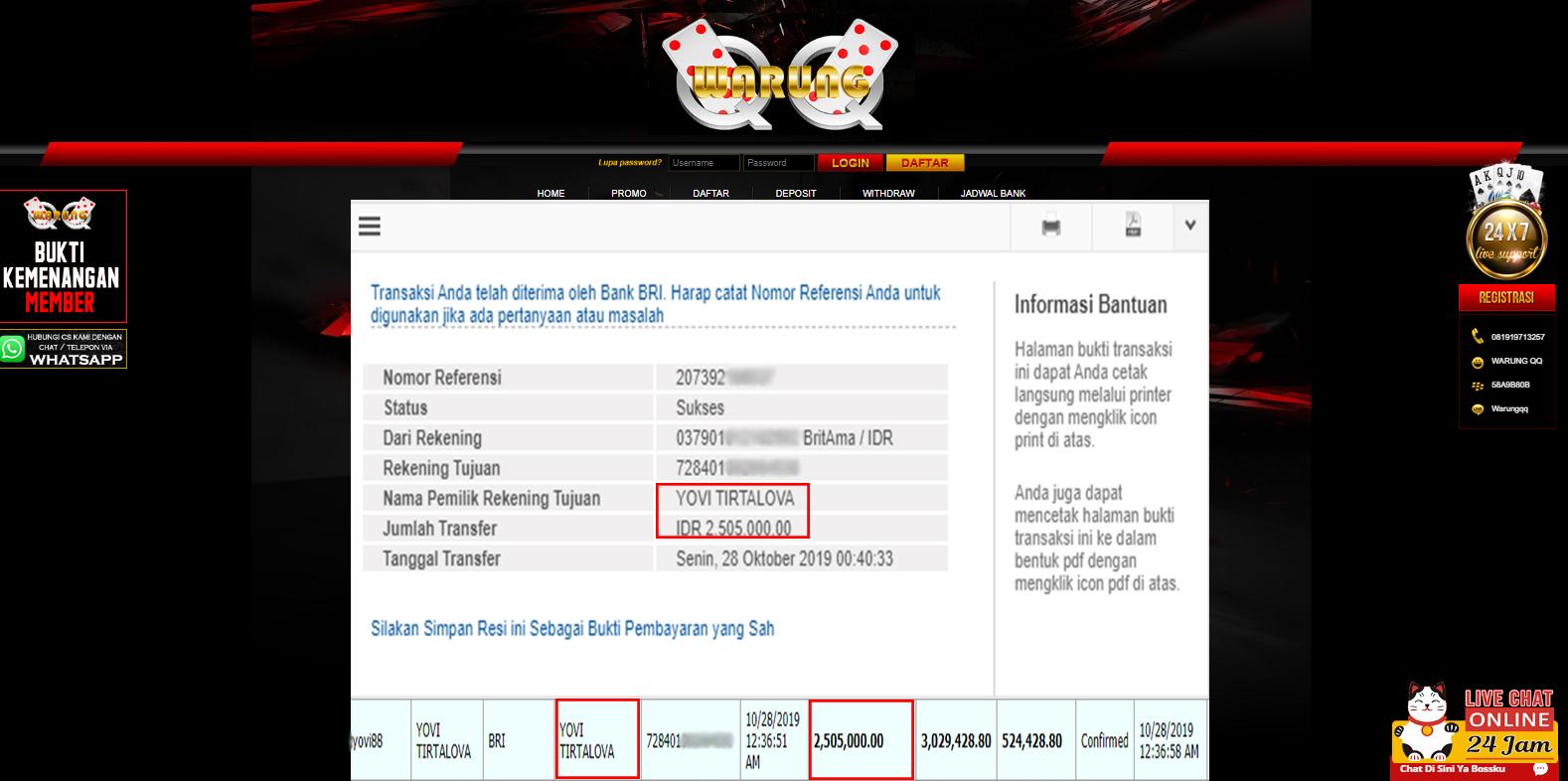 Selamat Kepada Member Setia WARUNGQQ Withdraw RP 2.505.000