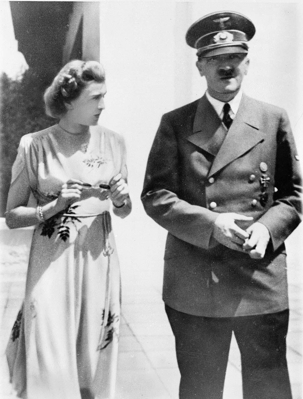 Eva Braun with Hitler in Berchtesgaden ca. 1944.
