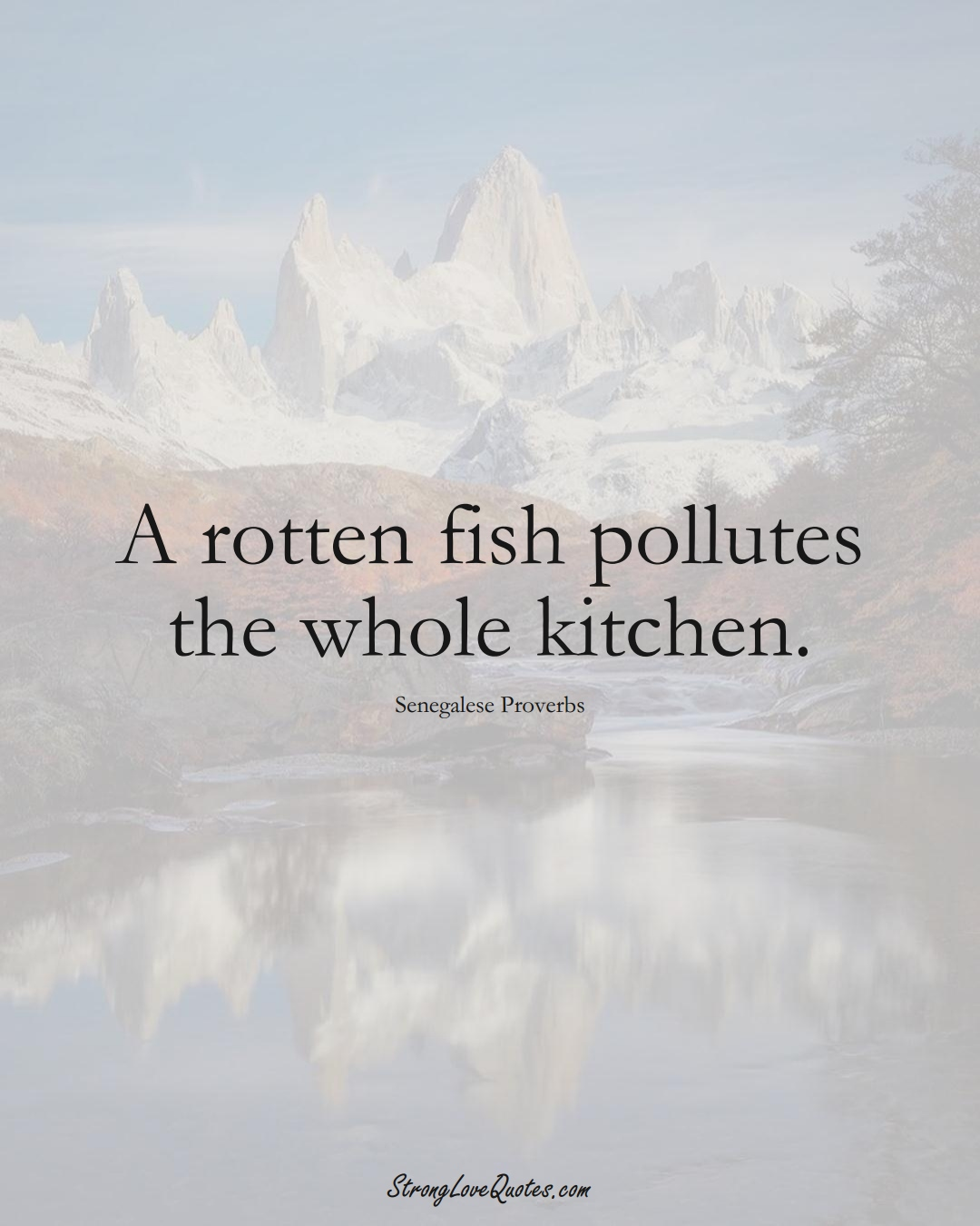A rotten fish pollutes the whole kitchen. (Senegalese Sayings);  #AfricanSayings