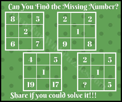 Can you solve this brain test by finding the value of the missing number?