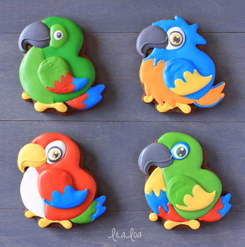 fun tropical jungle parrot cookie decorating ideas and variations
