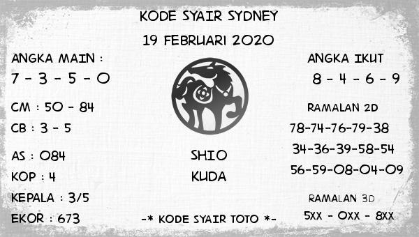 Prediksi Togel JP Sidney 19 Februari 2020 - Kode Syair Toto
