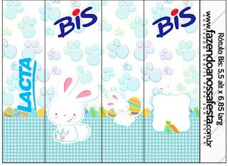 Conejito de Pascua en Cuadros Celestes: Etiquetas para Candy Bar para Imprimir Gratis.