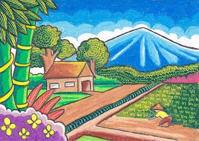 contoh gambar pemandangan alam pertanian sawah