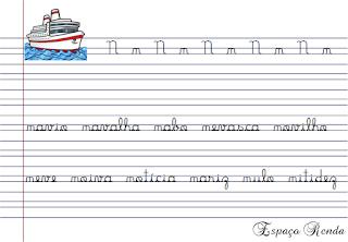 caderno de caligrafia letra N