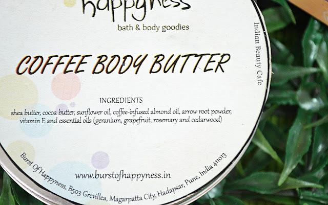 Burst of Happyness Coffee Body Butter ingredientd