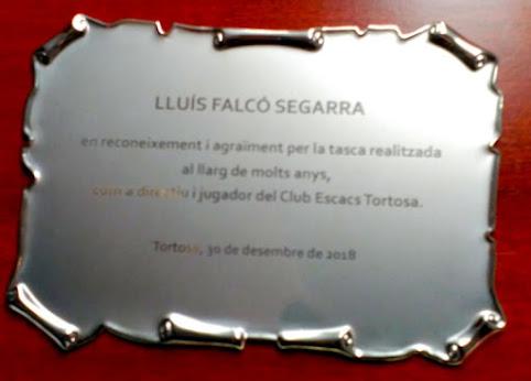 Placa homenaje a Lluís Falcó Segarra