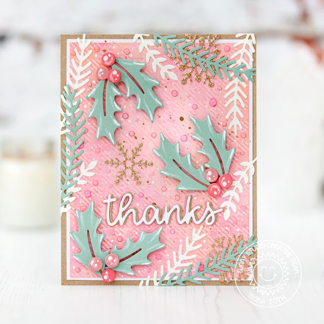 Sunny Studio Stamps: Winter Greenery Lacy Snowflake Dies Thank You Words Dies Winter Themed Thank You Card by Mona Toth