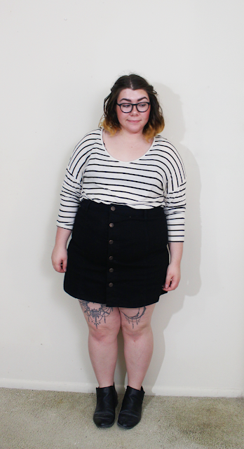 new in, fall haul, black button up skirt