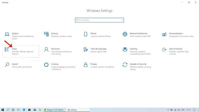 Masuk ke Pengaturan Apps yang Ada di Menu Setting (Pengaturan Windows)
