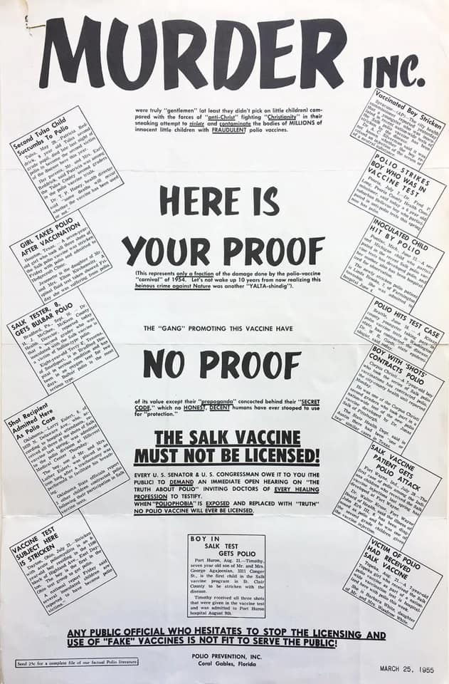 Anti-vaxx activists making sensational claims about the Polio vaccine, circa 1954
