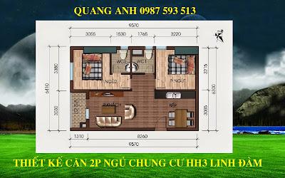 Thiết kế 2 phòng ngủ chung cư hh3 linh đàm