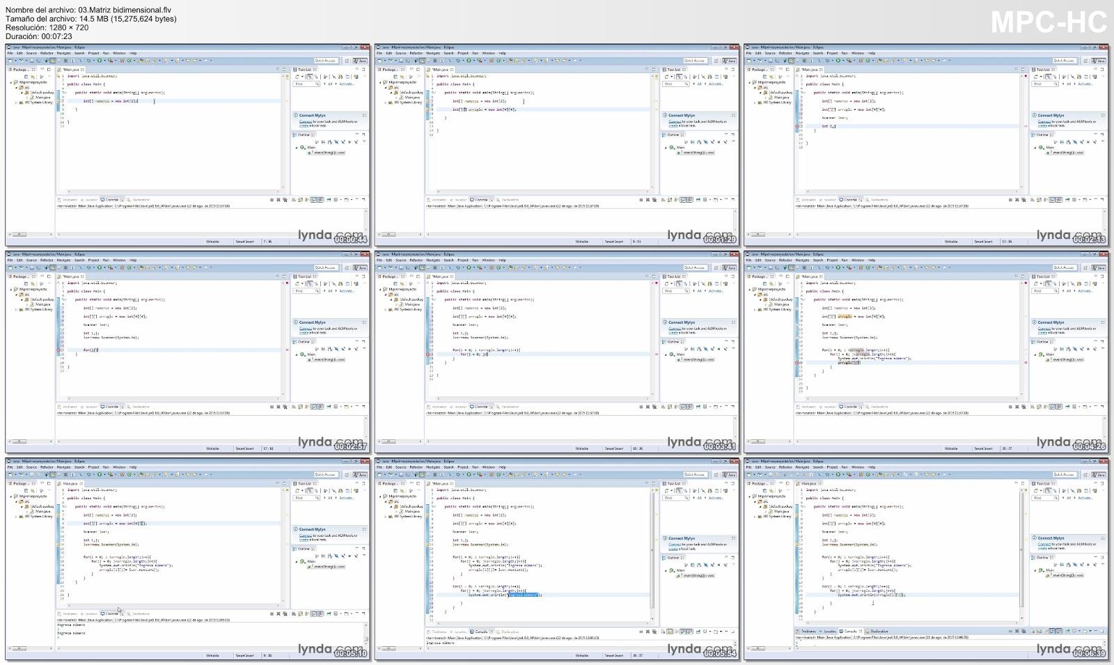 Matriz bidimensional curso video2brain Java