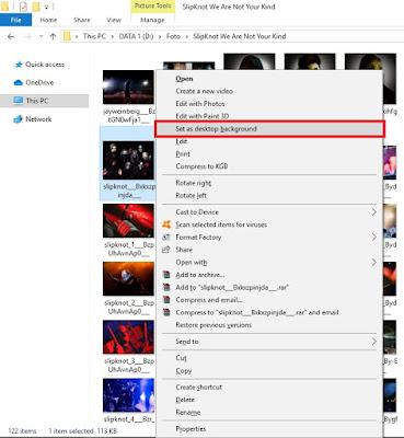 Jika sudah klik kanan pada gambar lalu pilih Set As Desktop Background.
