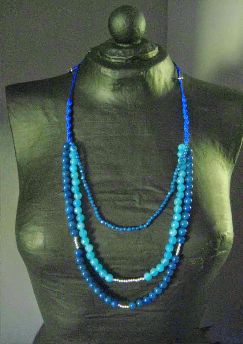 Collar plata semipreciosas jade ágata personalizada artesanal azul joyería