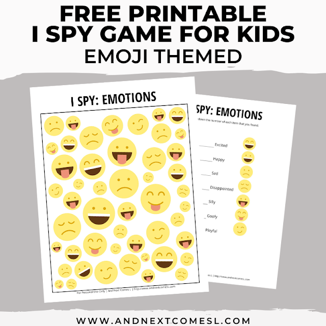 Free I spy game printable for kids: emotions themed