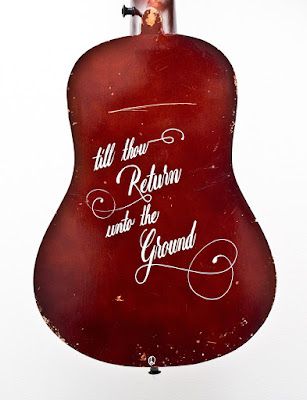 Matthew Reid - art - guitar - wateraid- hand painted guitar - acoustic - calligraphy
