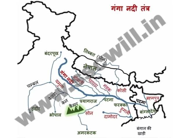 Ganga River Map in Hindi - गंगा नदी का नक्शा