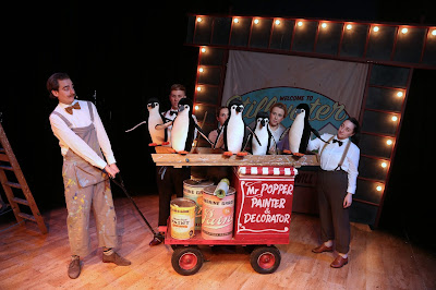 Mr Popper's Penguins review at Waterside Arts Cast on stage with props photo credit Jason Lock
