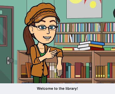 Cynthia M. Parkhill's cartoon Bitstrips avatar stands with left arm resting on counter with books in it.  With her right hand, she makes an open handed gesture toward the books behind her at left. The caption reads, 'Welcome to the library!'