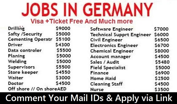 latest jobs in germany visa ticket free apply now. Black Bedroom Furniture Sets. Home Design Ideas