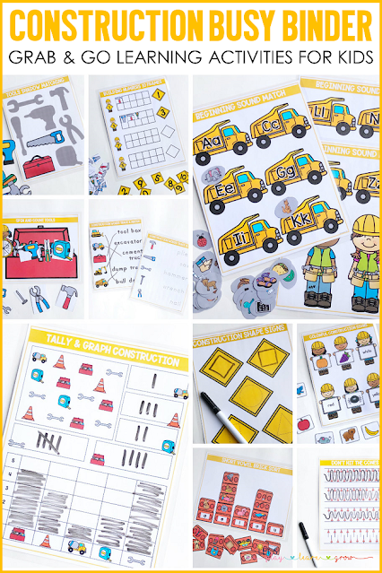 This learning activity binder includes 10 Construction themed learning activities for preschool and kindergarten. Use it for morning work, traveling, quiet time activities and more. Check out all ten skills covered and see other ways you can use our busy binder products here.